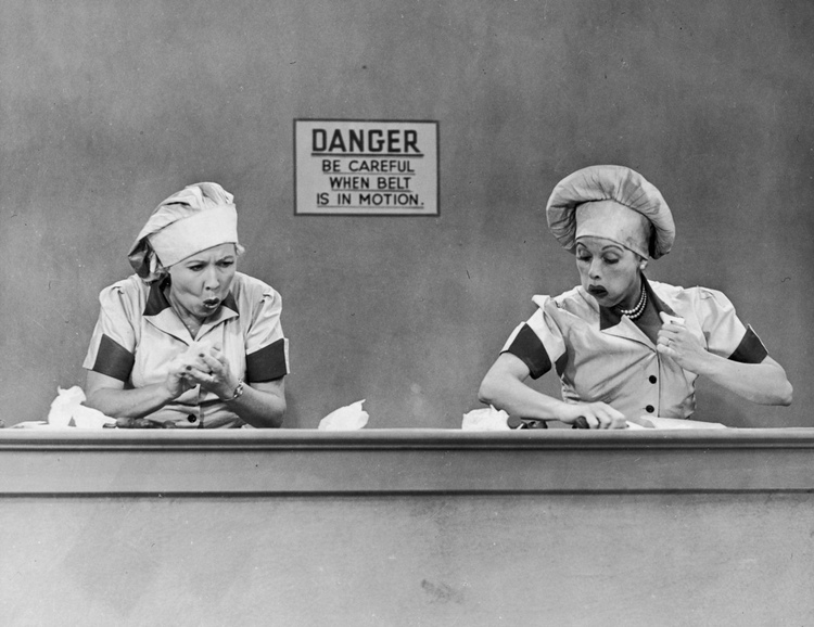 I Love Lucy scene: Lucy and Ethel wrap chocolates